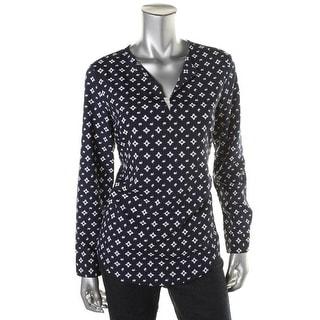 Lauren Ralph Lauren Womens Pattern Long Sleeves Blouse - XL