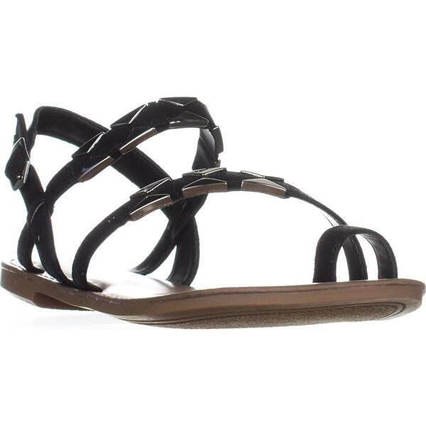 B35 Vadya Flat Toe Ring Buckle Sandals, Black