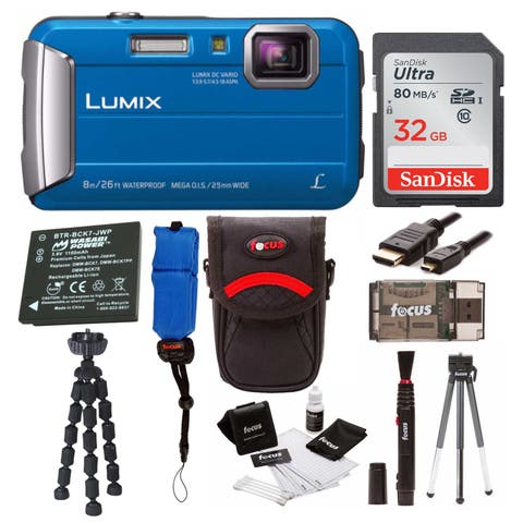 Panasonic Lumix DMC-TS30 Digital Camera (Blue) with 32GB Accessory Bundle
