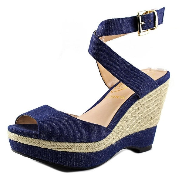 J. Renee Sarila Women W Open Toe Canvas Platform Sandal