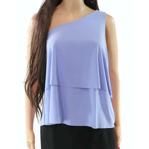 Halston Lavender Women's Large Tiered One Shoulder Blouse