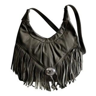 Fringe Hobo Bag - Soft Geniune Leather Black Color