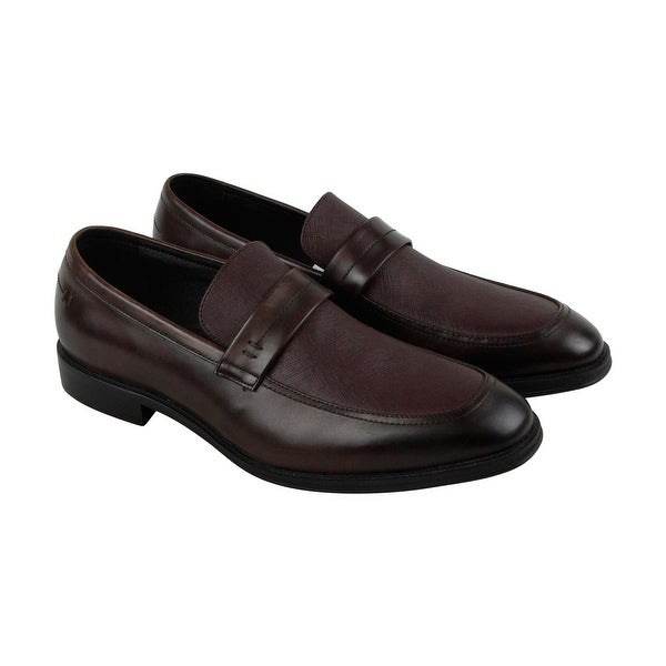 Kenneth Cole New York Got A Clue Mens Brown Leather Casual Dress Loafers Shoes