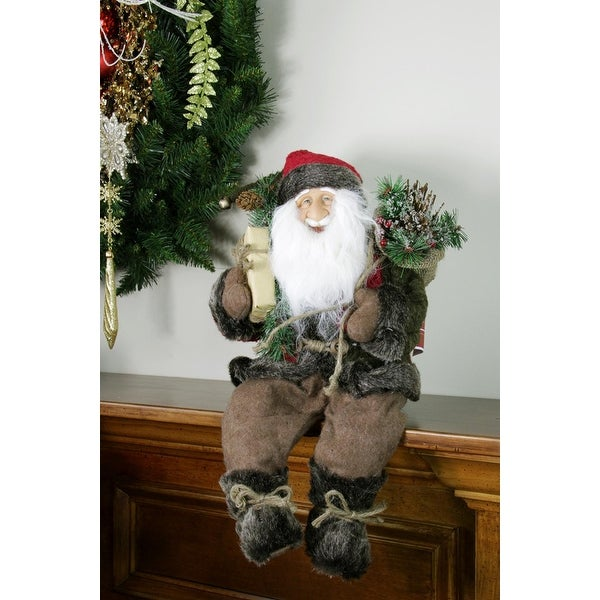 """16"""" Country Rustic Sitting Santa Claus Christmas Figure with Knitted Snowflake Jacket"""