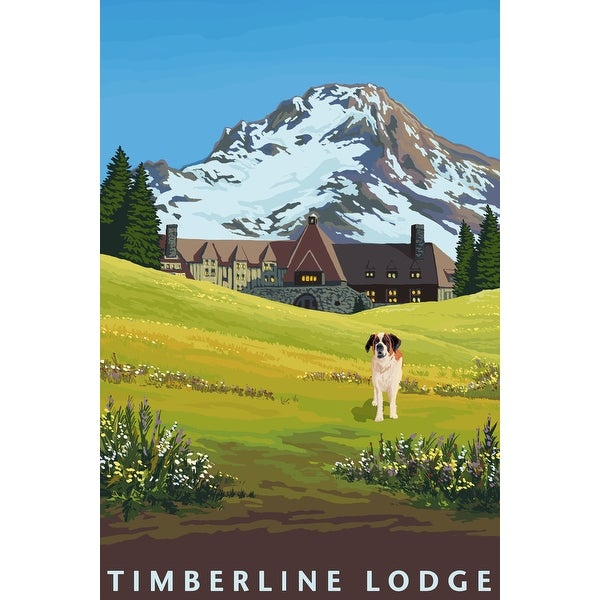 Timberline Lodge in Spring - LP Artwork (Acrylic Wall Clock)