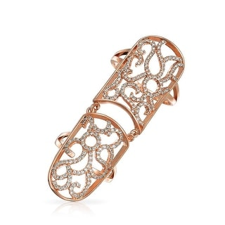 Bling Jewelry Rose Gold Plated CZ Armor Full Finger Filigree Ring