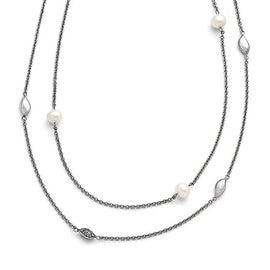Chisel Stainless Steel Polished Freshwater Cultured Pearls/CZ 2in ext. Necklace - 39 in