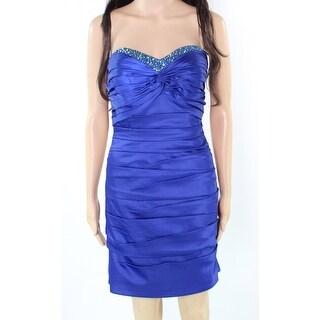 La Femme NEW Blue Women's Size 8 Sheath Beaded Pleated Solid Dress