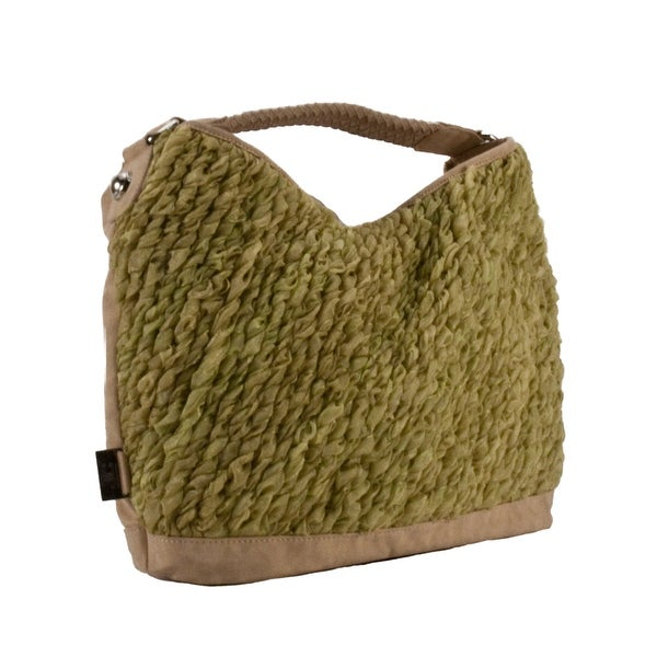 Jacky&Celine J 926-1 009 Natural Beige/Lime Green Vegan Shoulder Bag - natural/lime green - 14-10.5-5