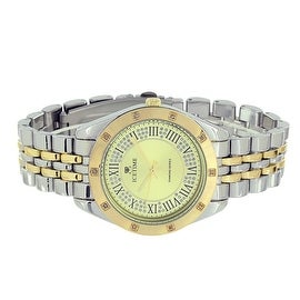 Mens Ice Time Watch Silver & Yellow Tone Genuine Diamonds Quartz Movement Analog Display