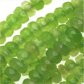 Dyed Jade Gemstone Beads, Faceted Rondelles 2x4mm, 15 Inch Strand, Grass Green