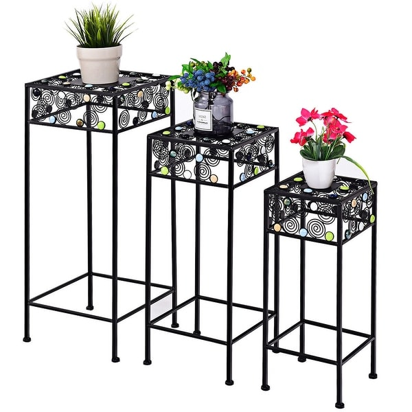 Gymax 3 Piece Metal Plant Stand Rack Pot Pots Garden Ceramic Beads Decor Flower - as pic