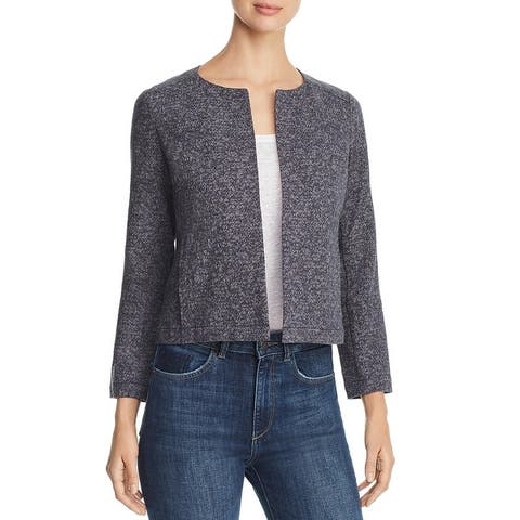 Eileen Fisher Womens Jacket Textured Open Front - Graphite