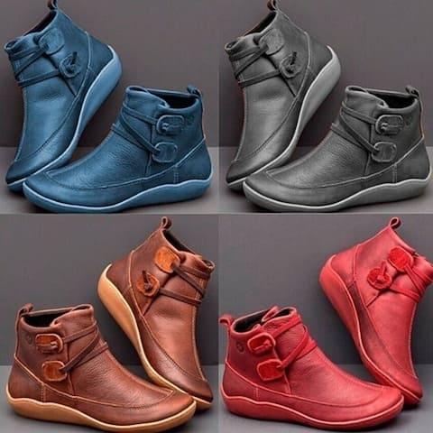 Flat Leather Boots Zipper Boots
