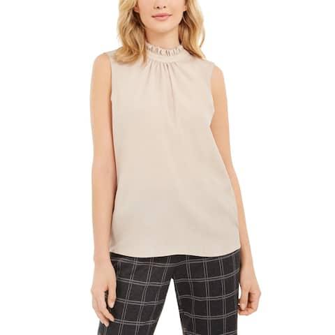 Calvin Klein Womens Petites Dress Top Sheer Mock Neck - Khaki - PL