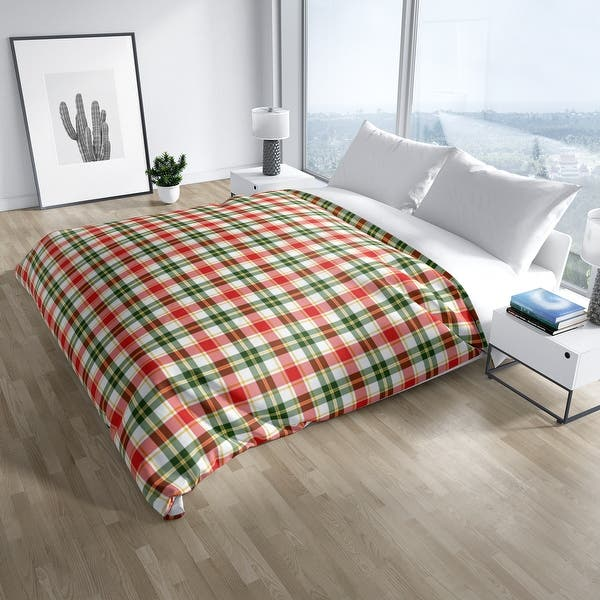 Christmas Red And Green Santa Plaid Duvet Cover By Kavka Designs Overstock 30772770