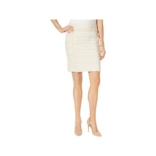 Kasper Womens Petites Pencil Skirt Fringe Metallic