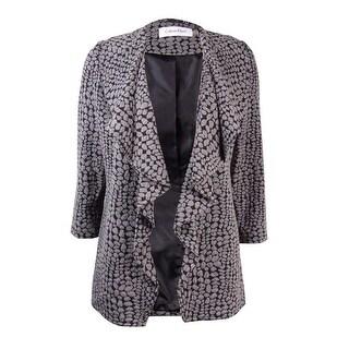 Calvin Klein Women's Petite 3/4 Sleeve Drape Front Jacket - Charcoal/Black - 2p