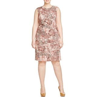 Nic + Zoe Womens Plus Casual Dress Twist Front Printed