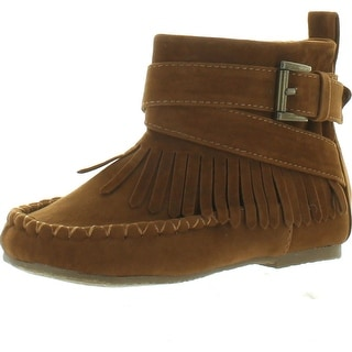 Chase & Chloe Pom-2K Girl's Fringe Mocassin Side Zipper Ankle Booties
