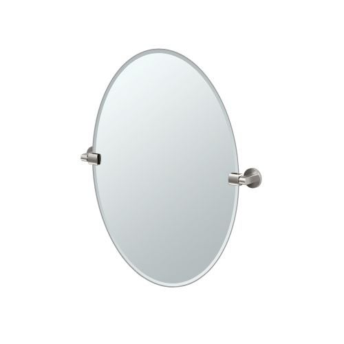 """Gatco 4119 Zone 24"""" Oval Beveled Wall Mounted Mirror with Satin Nickel Accents"""