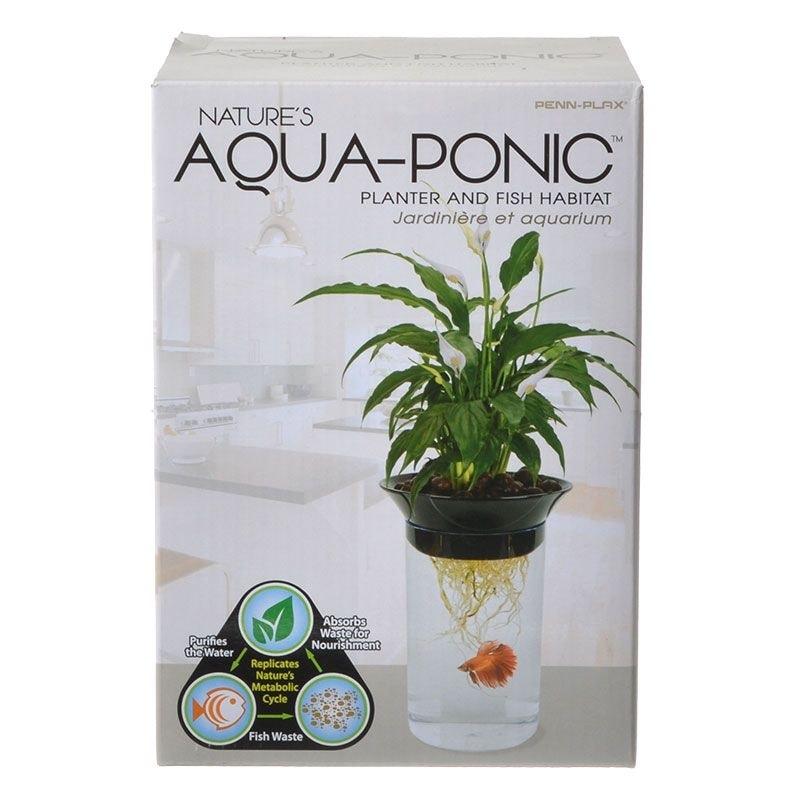 Penn Plax Natures Aqua-Ponic Planter & Fish Habitat -  0.5 Gallon Tank (3D x 8.6H)