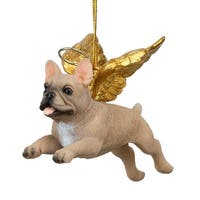 design toscano honor the pooch french bulldog holiday dog angel ornament