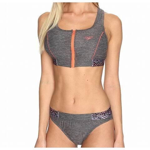 Speedo Gray Pink Women's Size 10 Bikini Zipped-Front Leopard Swimwear