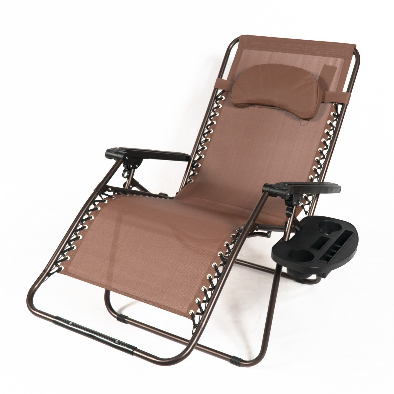 Belleze Xl Oversized Zero Gravity Chair Recliner Adjustable Lounge Padded With Pillow Drink Cup Holder Brown