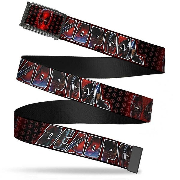 Marvel Universe Deadpool Face Close Up Logo Fcg Black Red Chrome Web Belt