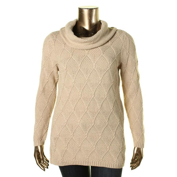 Jeanne Pierre Womens Sweater Cowl-Neck Cable-Knit