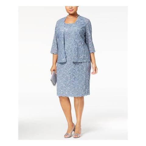 ALEX EVENINGS Womens Blue Floral Open Cardigan Sweater Size 22W