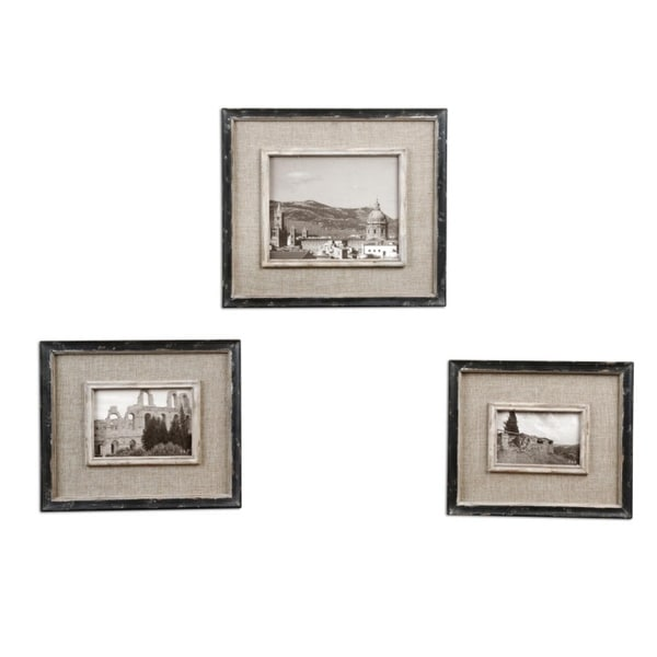 Set of 3 Distressed Black and Burlap 4x6 5x7 8x10 Photo Picture ...