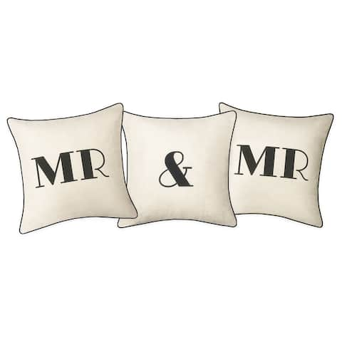 """Edie at Home Celebrations Embroidered Applique """"Mr & Mr"""" Decorative 3-Pack Pillow Set, Oyster/Black"""