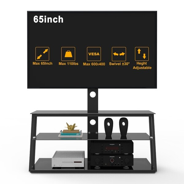 Swivel Floor TV Stand with Mount up to 65 Inch,Corner TV Stands with 3 Tier Sturdy Tempered Glass Base for Media Storage Black. Opens flyout.