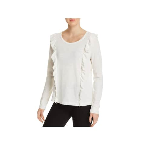 Splendid Womens Knit Top Ruffled Slub Long Sleeve