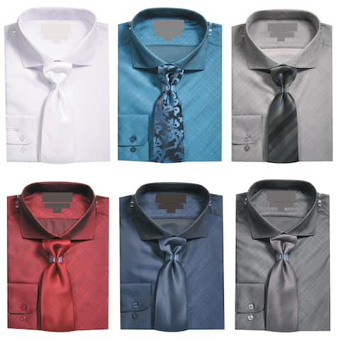 Men's Slim Fit Metallic Texture Dress Shirt with Neck Tie