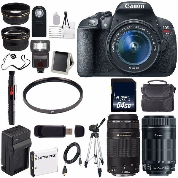 Canon EOS Rebel T5i 18 MP CMOS DSLR Camera f/3.5-5.6 Lens + Canon EF-S 55-250mm Lens (International Model) Bundle