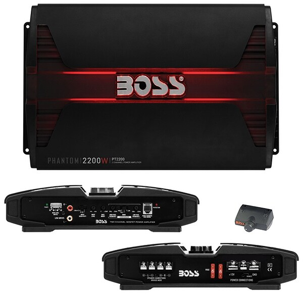 Boss PHANTOM 2200 Watts 2Channel Power Amplifier Remote Subwoofer Level Control