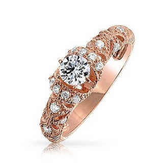 Vintage Style .50CT Milgrain AAA CZ Brilliant Cut Solitaire Halo Sterling Silver Rose Gold Plated Engagement Ring