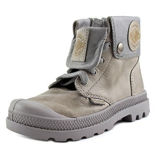 Palladium Baggy Lea Zipper II Youth Round Toe Leather Gray Boot