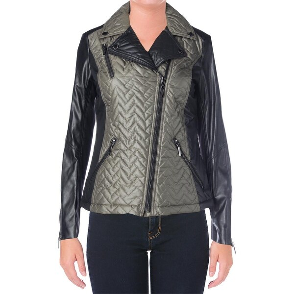 Laundry by Shelli Segal Womens Motorcycle Jacket Faux Leather Trim Zip Front