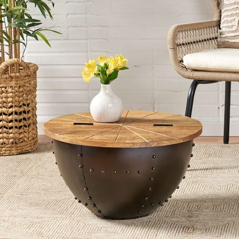 Absecon Handcrafted Boho Mango Wood and Iron Accent Table by Christopher Knight Home