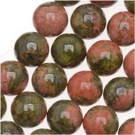 Unakite 6mm Round Beads/15.5 Inch Strand (Green & Peach)