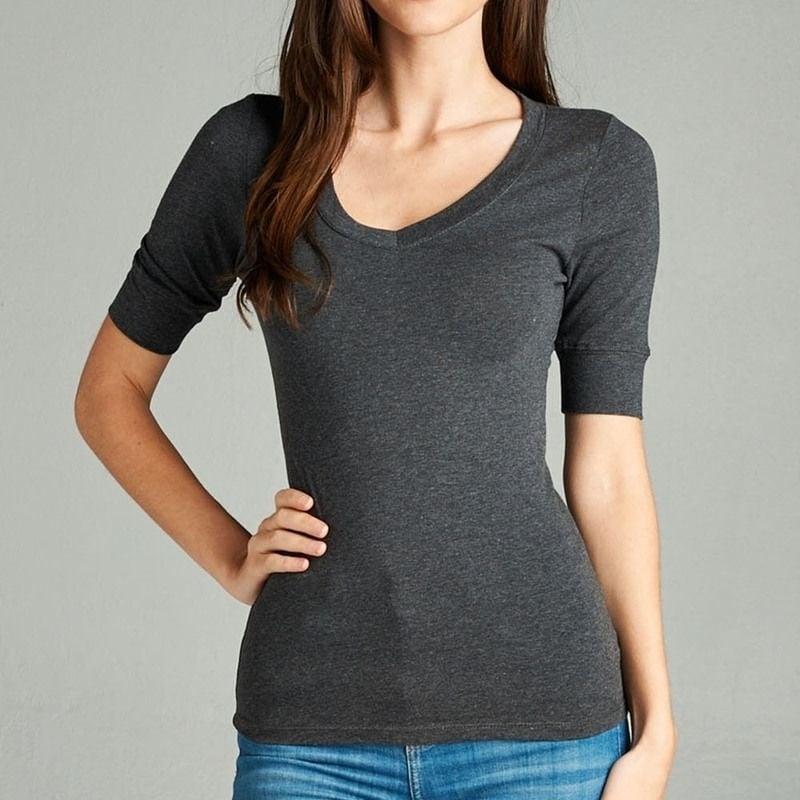 Womens Basic Elbow Short Sleeve Stretchy V-Neck T-Shirt