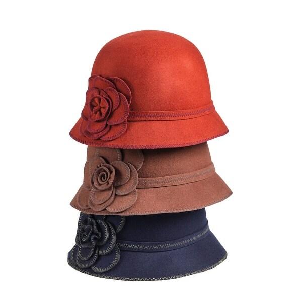 7215fecea75 Shop Women s Wool Fun Flower Cloche Hat - Free Shipping On Orders Over  45  - Overstock - 18284938