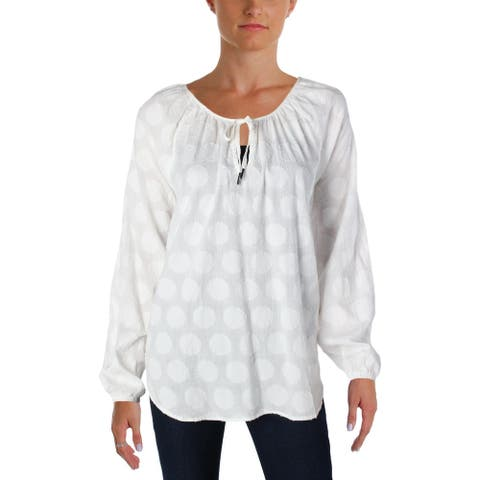 4Our Dreamers Womens Peasant Top Dot Print Tie Neck
