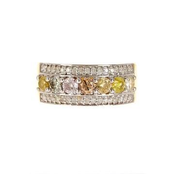 14K Gold Pave Multi Diamond Ring