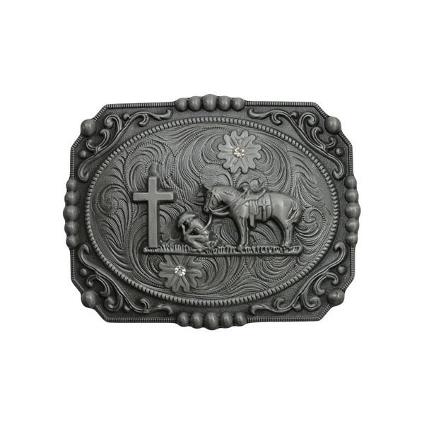 "Silver Strike Western Belt Buckle Mens Cowboy Praying Silver - 4 1/2"" x 3 1/2"""