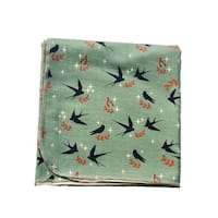 Sophia Sam Baby Mint Sparrow Pattern Organic Cotton Swaddle Blanket - One Size